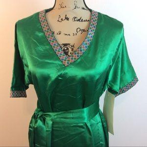 ASHRO Green Satin Kimono Style Satin Dress NEW